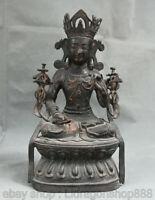 "11,2 ""bouddhisme Tibet violet bronze vert Tara illumination Statue de la déesse"