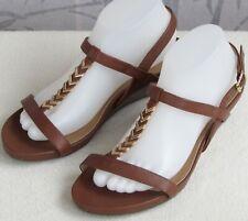 8 Wide   Vionic Cali Women Brown Open Toe Slingback Wedge Pump Heel Sandal Shoe