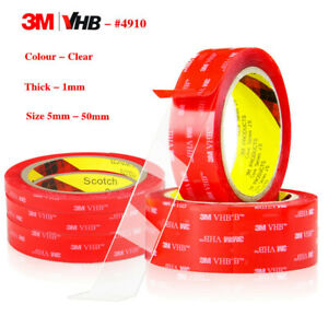 CLEAR 3M VHB  4910 DOUBLE SIDED Self Adhesive Sticky TAPE Acrylic Mounting Foam