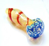 """4.5"""" LEMON RED BLUE COLLECTIBLE TOBACCO GLASS PIPE SMOKING BOWL HAND GIFT"""