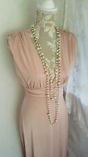 Vestido de Boda Vintage 1920,s años 30 estilo Gatsby Polvoriento Rosa Grecian Baile de graduación Talla 8 Reino Unido