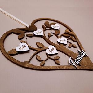 Personalised Family Tree hanging heart Gift Handmade Grandchildren Christmas