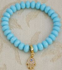 Bracelet with 24K GOLD plated Charm, Fine Translucent Crystals & Turquoise Beads