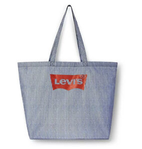 "Levi Strauss & Co Blue & White Tote Shopping Beach Bag With Logo 18""x23""x16"" NWT"