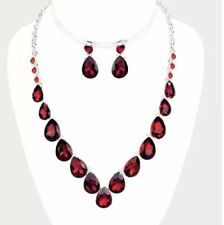 Red Teardrop Crystal Rhinestone Necklace Jewelry Wedding Set Earring Bridal