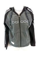 ADIDAS Womens Hoodie Jacket 14 Grey Brown Cotton & Polyester