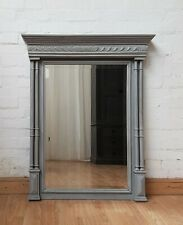 CLASSIC LARGE ANTIQUE FRENCH PAINTED OAK COLUMN MIRROR - c1900