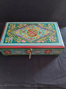 LARGE HAND PAINTED WOODEN BOX IN A TURQUOISE FLORAL DESIGN FROM INDIA