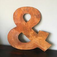 & Industrial Rusty Lettering Letters Sign Metal Shop Front Home 12inch Rustic