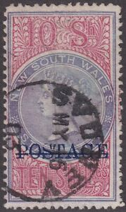 NSW 10s POSTAGE (blue ovpt). Perf 12. Commercially used. SG 241b, Cat £70