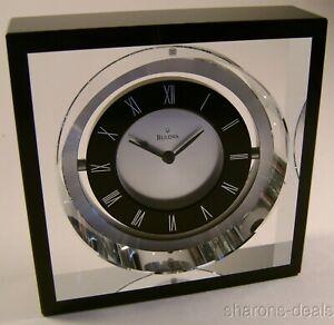 NEW Bulova B9860 Orion Executive Desk Clock Pivoting Clear Crystal Black 2.5 lbs