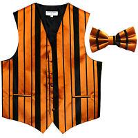 New formal men's tuxedo vest waistcoat & bowtie vertical stripes black gold prom