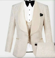 Men Suits Jacquard Pants Sets Slim Fit Groom Groomsman Wedding Work Formal Wear