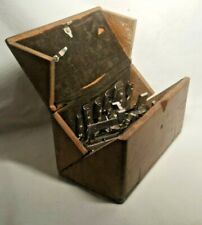 Antique 1919 Wood Singer Fold Out Puzzle Box  Sewing Machine Parts Accessories