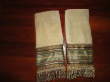 CROSCILL BRAZIL BROWN BLUE STRIPE FRINGE (2) DECORATIVE HAND TOWELS 16 X 29 SET