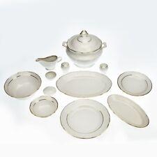 49 Piece Porcelain Dinner Set Kitchen Tableware Dinnerware Plate Service Gold