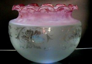 Shade Victorian Glass Original Cranberry Tinted Acid Etched Ruffled Edge
