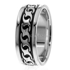 Bands Rings Mans Black Wave Band Ring 14K Solid White Gold Mens Celtic Wedding