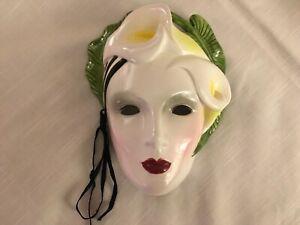 "Vintage 1986 Vandor Lotus Porcelain Wall Mask Pelzman Designs Made Korea 8"""