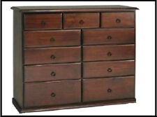 BANKSIA ASSEMBLED TIMBER TALLBOY CHEST OF 1.2m 11 DRAWER IN WALNUT