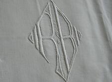 grand monogramme RB, n°266  bordure de drap ancien, jours, 215x65cm, cantonnière