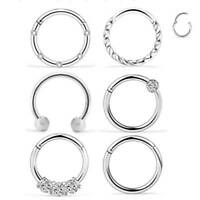 16G 6PCS Surgical Steel Septum Nose Hoop Clicker Ring Lip Ear Cartilage Tragus