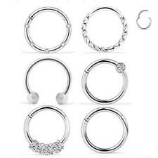 Hinge Segment Ear Helix Tragus Hoop 6Pcs Surgical Steel Nose Ring Septum Clicker