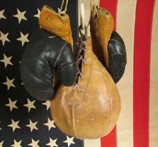 Vintage early Genuine Leather Boxing Speed Bag Small & Globe A7 Leather Gloves