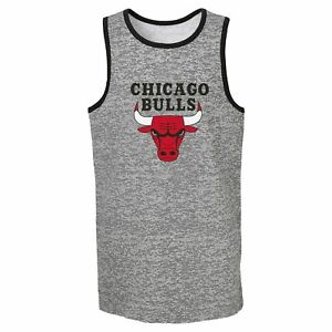 Outerstuff Chicago Bulls NBA Boys Youth (8-20) Baseline Tank Top, Grey
