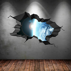 3D FULL COLOUR SPACE EARTH UNIVERSE GALAXY PLANET CRACKED WALL ART STICKER DECAL
