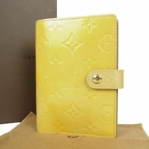 Auth LOUIS VUITTON R21001 Vernis Agenda PM Daily Planner Cover Yellow 17872bkac