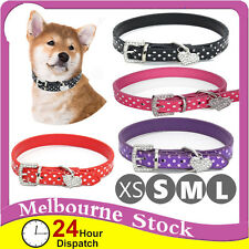 PU Leather Dog Collar Pet Puppy Leads Cute S M Large XL Polka Dot Diamond Heart