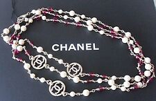 "64"" Long CHANEL 2016 Pearls Gripoix Red Stones Chains 3 Gold CC Sautoir Necklace"