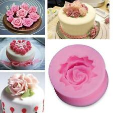 Silicone 3D Rose Flower Fondant Cake Chocolate Sugarcraft Tools Mold Gifts T1K5