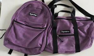 FW16 Supreme mesh purple backpack and duffle bag