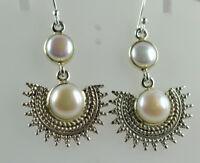 Fresh Water Pearl 925 Solid Sterling Silver Handmade Dangle Drop Earrings