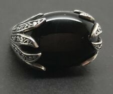 Black onyx chunky ring UK Size O, oval, new, actual one, Solid Sterling Silver