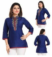 Indian Pakistani Women Indian Raw Silk Blue  Kurti Tunic Kurta Top Shirt BD342