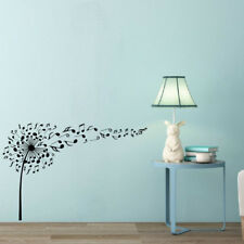 Black Music Notes Pattern Wall Decal Music Dandelion Vinyl Stickers Home Art