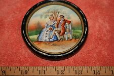 Vintage marked (S) 7880 Czechoslovakia Porcelain Courting Couple Picture Framed