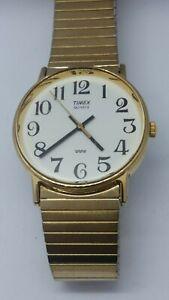 Timex Vintage Men's Gold Tone Wristwatch Quartz Analog. Flex Band. New Battery.