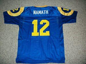 JOE NAMATH Unsigned Custom Los Angeles Blue Sewn New Football Jersey Sizes S-3XL