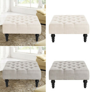 Large Chesterfield Footstool Square Coffee Table Bench Buttoned Seat Living Room