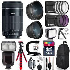 Canon 55-250mm IS STM + Pro Flash + LED Light + Tripod - 64GB Accessory Bundle