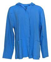 Isaac Mizrahi Live! Women's Sweater Sz XL Open Front Swing Hoodie Blue A381603