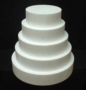 "5pc set CAKE DUMMY 3"" Thick Round 6""8""10""12""14"" EPS Foam Wedding Styrofoam Fake"