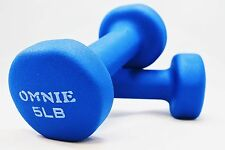 Omnie 5 LBS Neoprene Coated Dumbbell Hand Weight Exercise Fitness Yoga - Pair