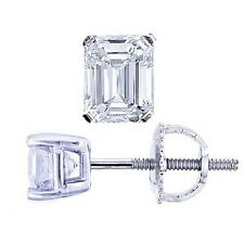 1.00 Ct. Classic Emerald Cut Diamond Stud Prong Earring Set 14K WG Screw Backing