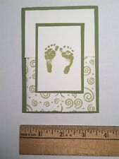 (#E100) Handmade Baby Announcements Set of 9 plus Envelopes Green