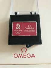 Omega Beijing 2008 Olympic Pin Badge in Presentation Box - Highly Collectable